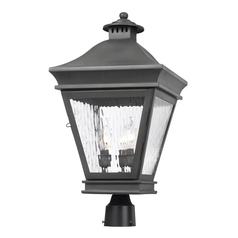 Elk Lighting 5723-C Landings 3 Light Solid Brass Post Light Charcoal