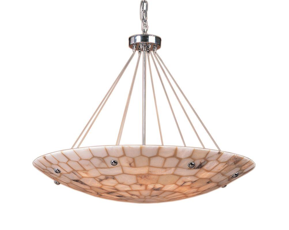 Shop Cascadia Lighting 4 Light Standford Brushed Nickel: Elk Lighting 8852/8 Polished Chrome Alabaster Stone
