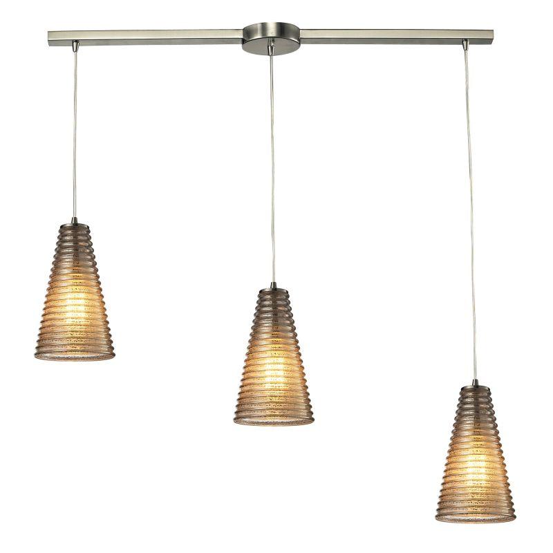 "Elk Lighting 10333/3L Ribbed Glass 3 Light 36"" Wide Linear Pendant"