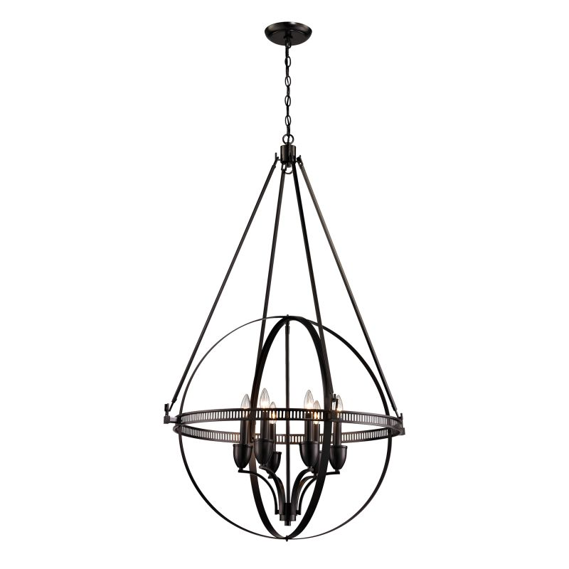 Elk Lighting 10393/6 Hemispheres 6 Light Pendant Oil Rubbed Bronze