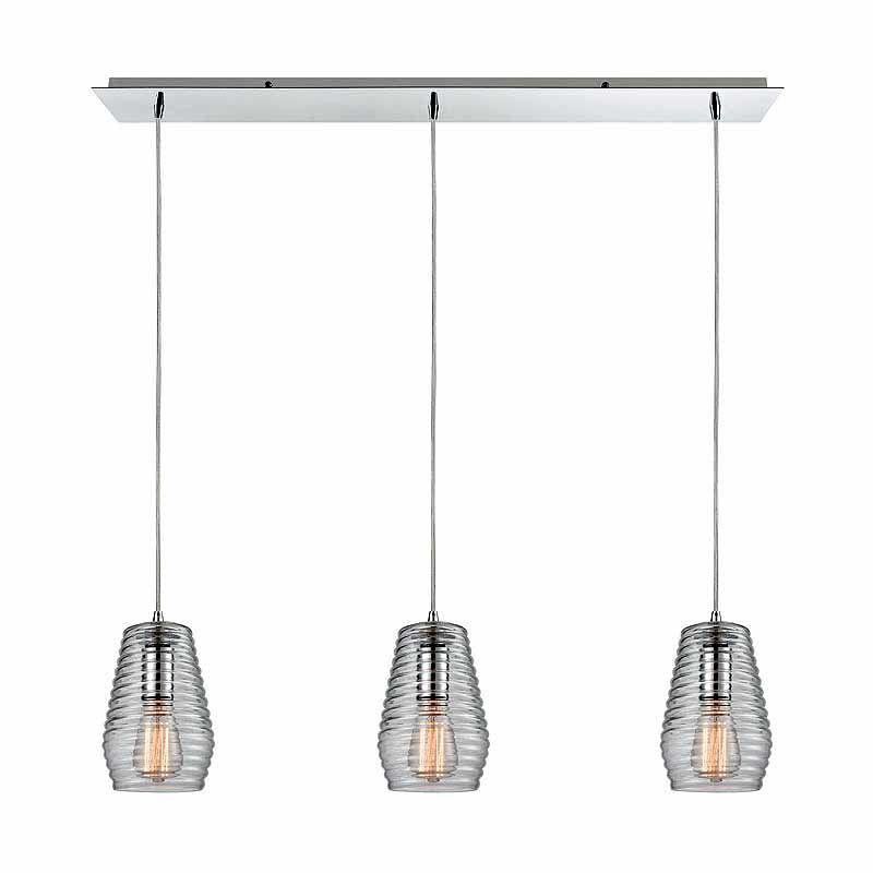 "Elk Lighting 10523/3LP Ribbed Glass 3 Light 5"" Wide Linear Pendant"