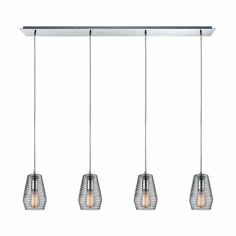 "Elk Lighting 10523/4LP Ribbed Glass 4 Light 5"" Wide Linear Pendant"