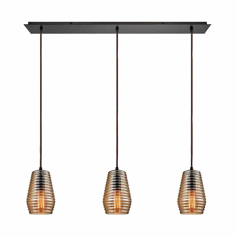 "Elk Lighting 10533/3LP Ribbed Glass 3 Light 5"" Wide Linear Pendant"