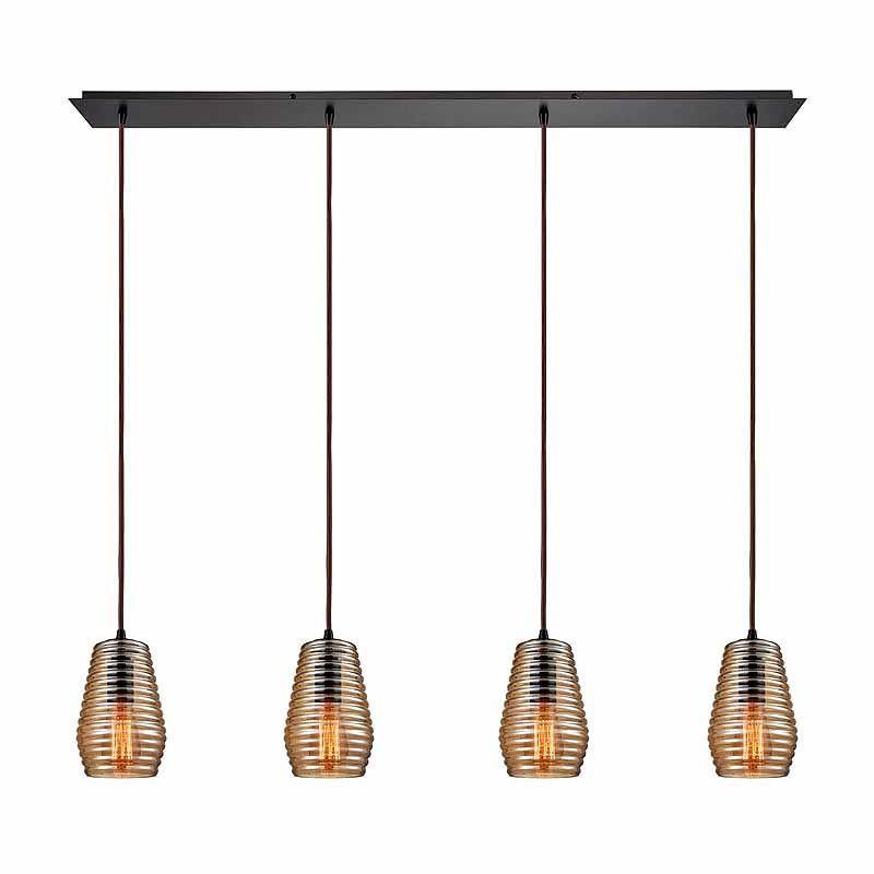 "Elk Lighting 10533/4LP Ribbed Glass 4 Light 5"" Wide Linear Pendant"