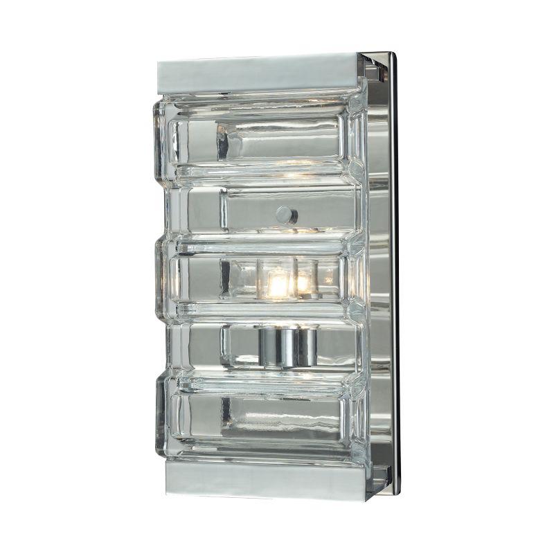 Elk Lighting 11515/1 Corrugated Glass 1 Light Bathroom Sconce Polished