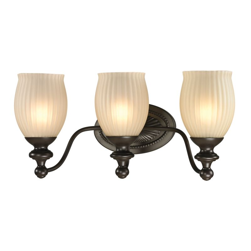 "Elk Lighting 11652/3 Park Ridge 3 Light 19"" Vanity Fixture with Ribbed"