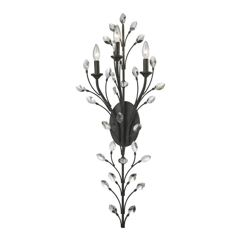Elk Lighting 11771/3 Crystal Branches 3 Light Wall Sconce Burnt Bronze
