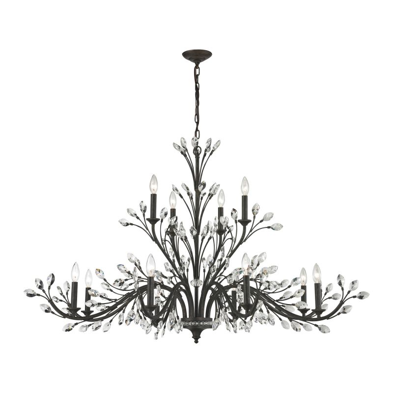 Elk Lighting 11777/8+4 12 Light 2 Tier Chandelier From The Crystal