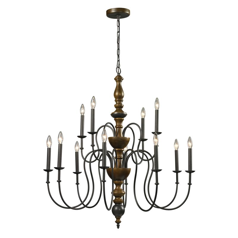 Elk Lighting 14187/8-4 French Country 12 Light 2 Tier Chandelier