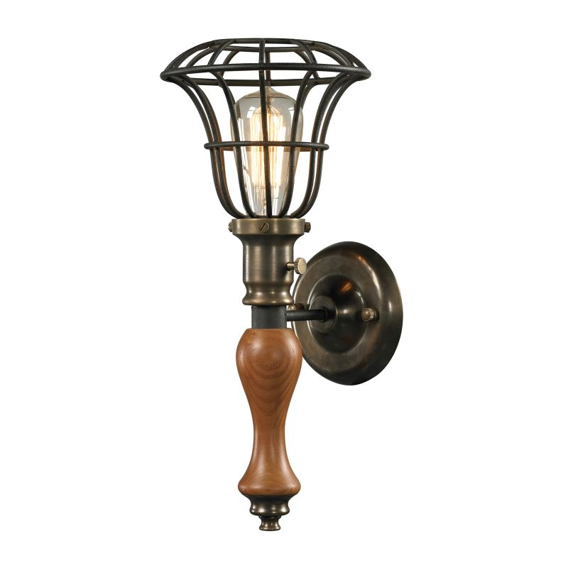 Elk Lighting 14231/1 Spun Wood 1 Light Wall Sconce Vintage Rust Indoor