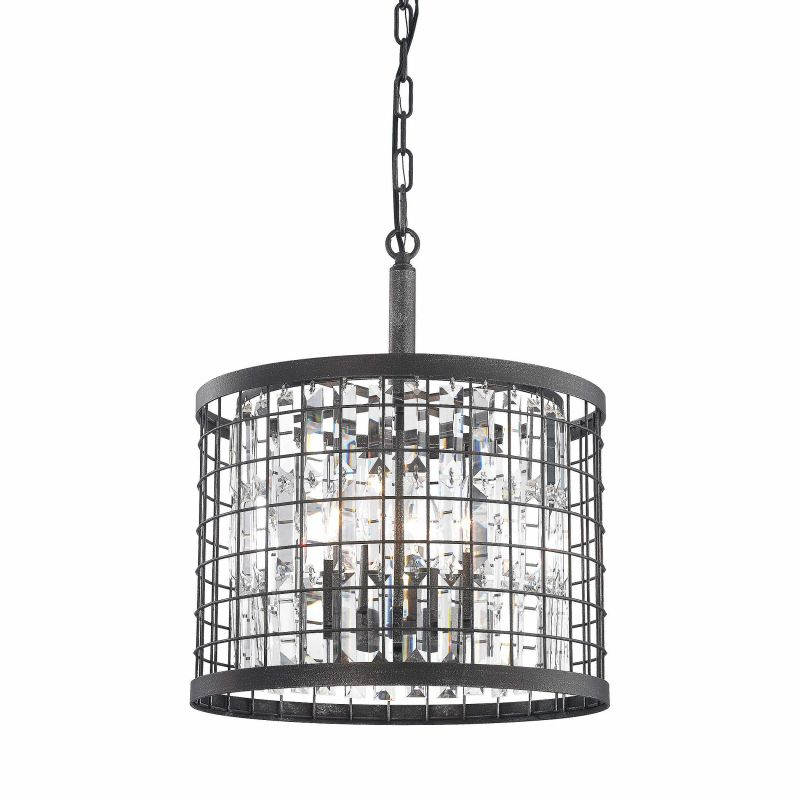 Elk Lighting 14342/4 4 Light 1 Tier Drum Chandelier with Crystal
