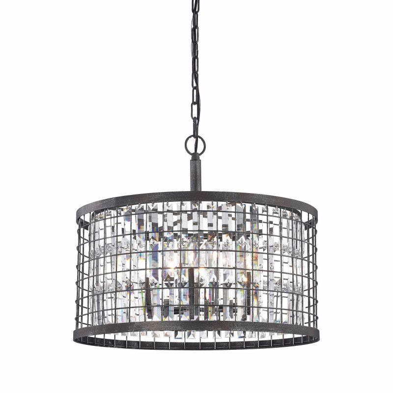 Elk Lighting 14344/6 6 Light 1 Tier Drum Chandelier with Crystal