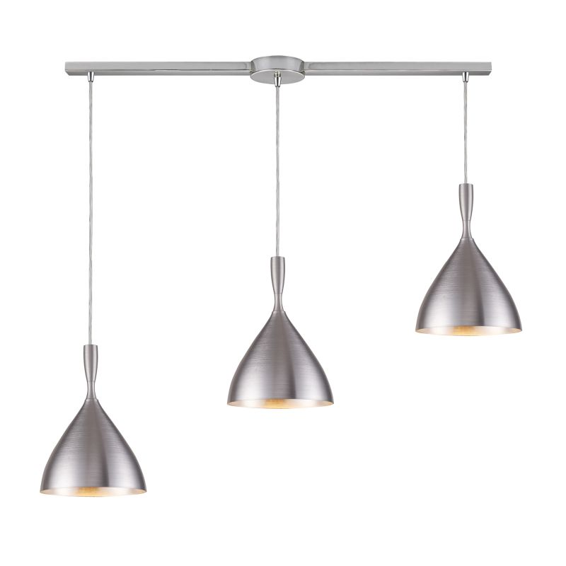 "Elk Lighting 17042/3L Spun Aluminum 3 Light 36"" Wide Linear Pendant"