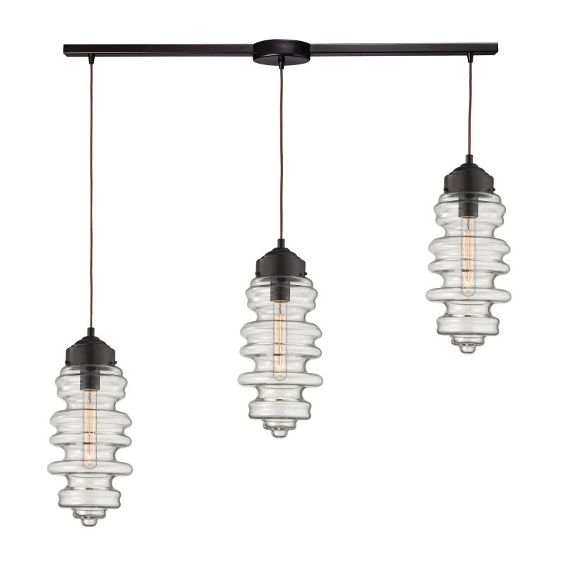 "Elk Lighting 17205/3L Cipher 3 Light 36"" Wide Linear Pendant with"