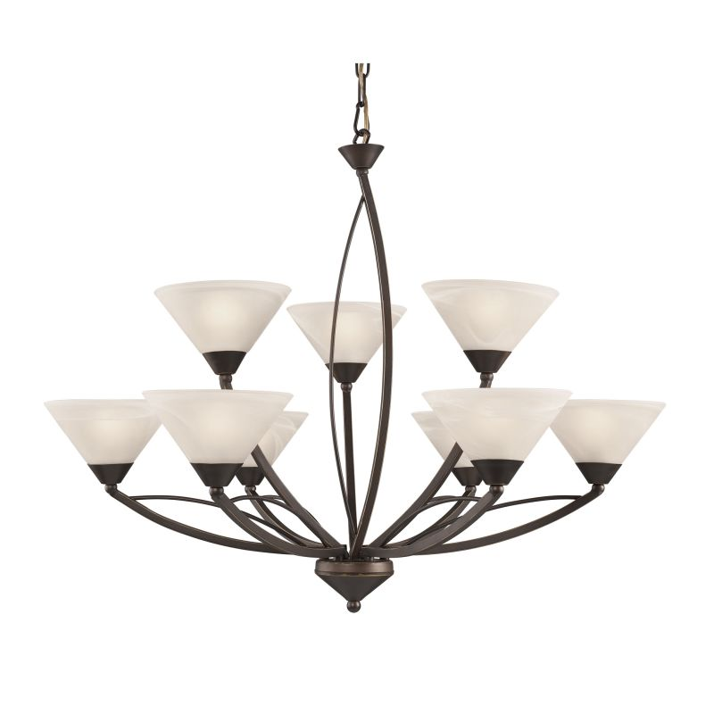 Elk Lighting 17648/6+3 9 Light 2 Tier Chandelier From The Elysburg