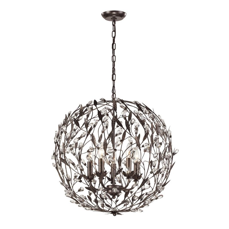 Elk Lighting 18135/5 Circeo 5 Light Globe Pendant Deep Rust Indoor