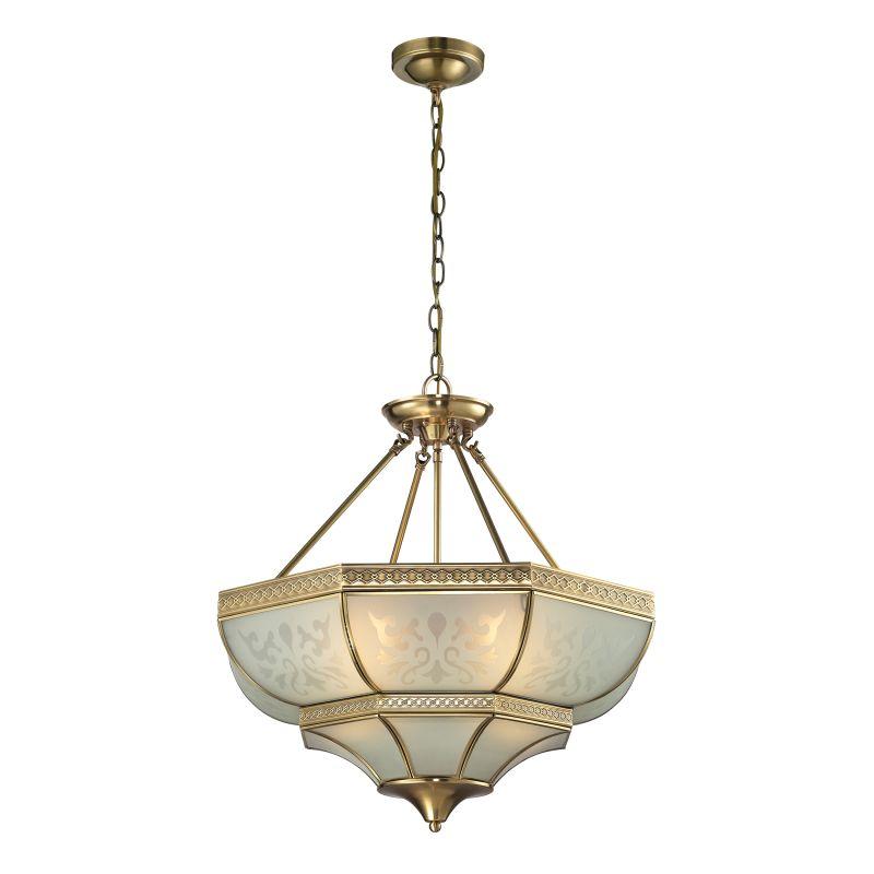 Elk Lighting 22007/4 French Damask 4 Light Large Pendant Brushed Brass