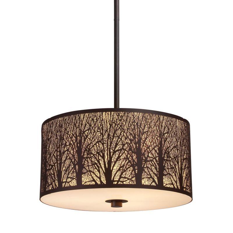 "Elk Lighting 31074/3 Woodland Sunrise 3 Light 16"" Wide Pendant with"