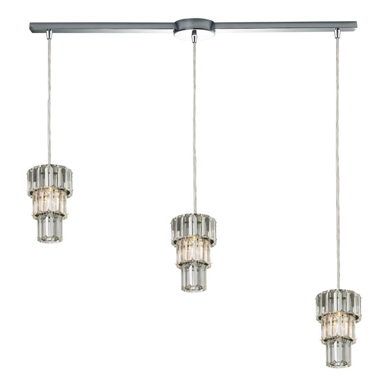 "Elk Lighting 31489/3L Cynthia 3 Light 36"" Wide Crystal Linear Pendant"