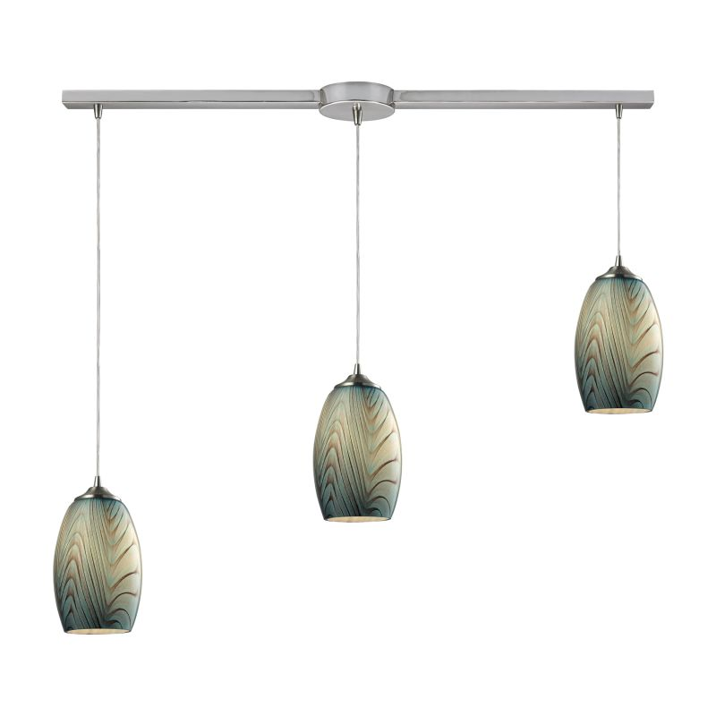 """Elk Lighting 31620/3L Tidewaters 3 Light 36"""" Wide Linear Pendant with"""