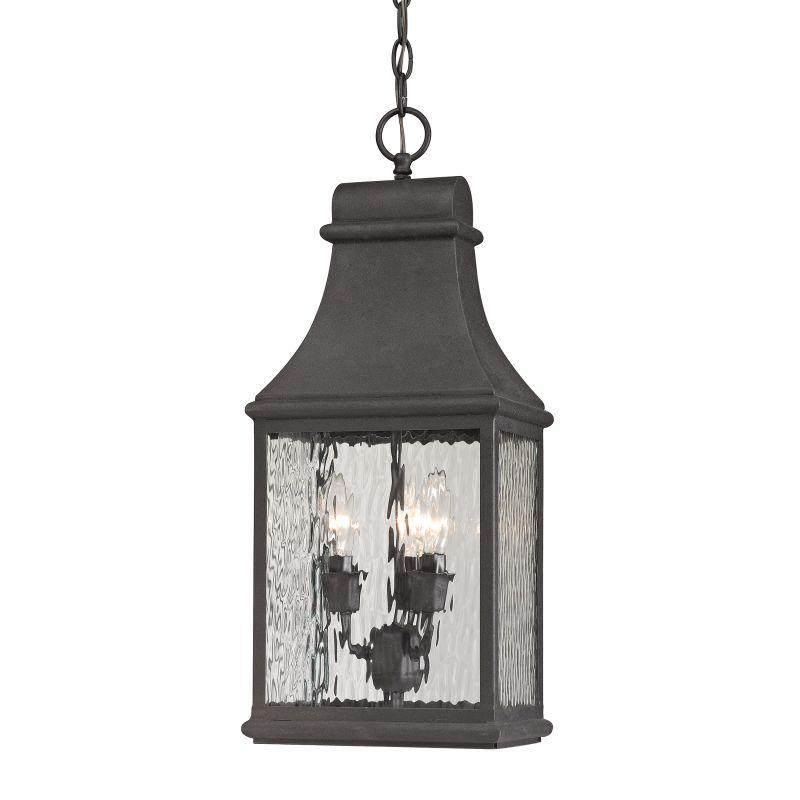 Elk Lighting 47074/3 Forged Jefferson 3 Light Outdoor Pendant Charcoal
