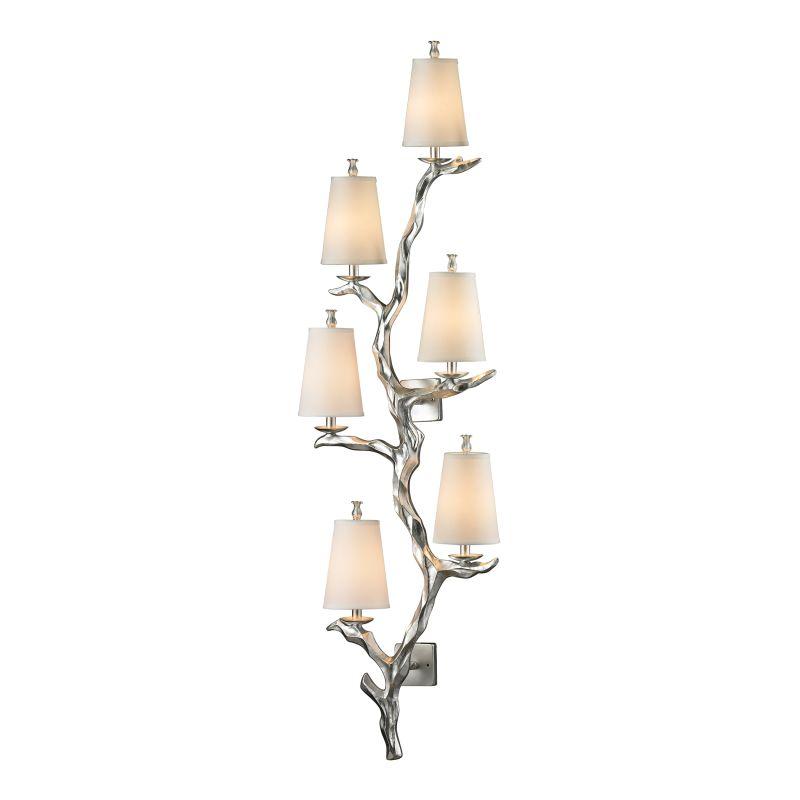 Elk Lighting 55005/6 Sprig 6 Light Wall Sconce Silver Leaf Indoor