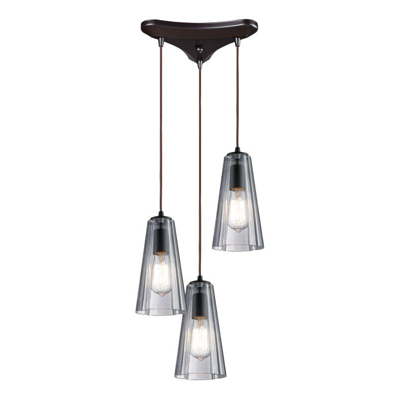 Elk Lighting 60048-3 Menlow Park 3 Light Pendant Oiled Bronze Indoor