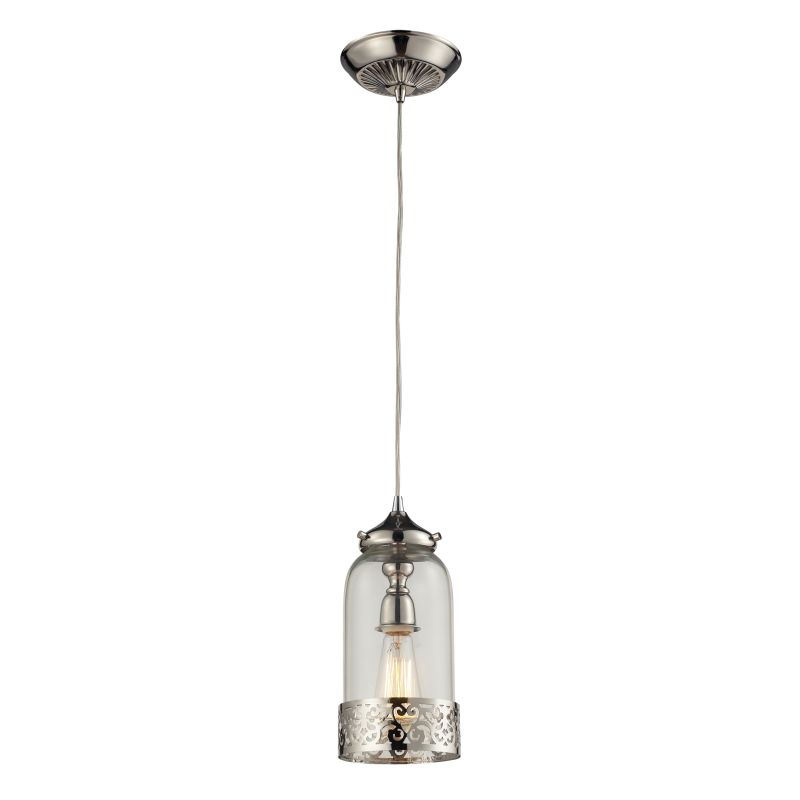 "Elk Lighting 63025-1 Brookline Single Light 6"" Wide Mini Pendant with"