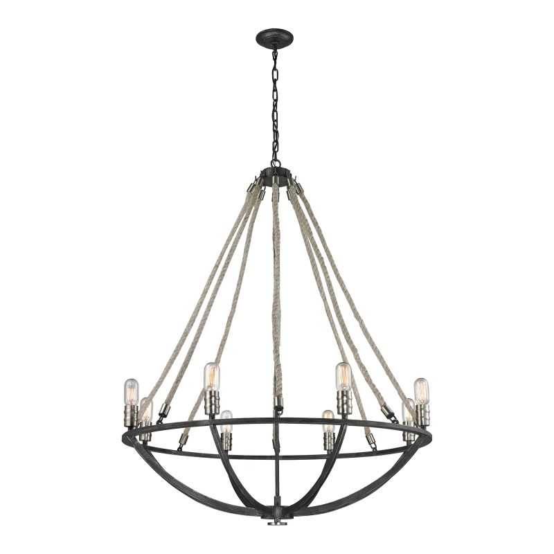 Elk Lighting 63058-8 Natural Rope 8 Light Chandelier Silvered Graphite Sale $998.00 ITEM: bci2615186 ID#:63058-8 UPC: 748119085104 :