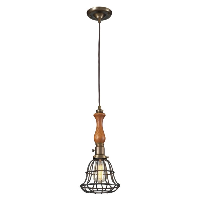 Elk Lighting 65137-1 Spun Wood 1 Light Pendant Vintage Brass / Vintage