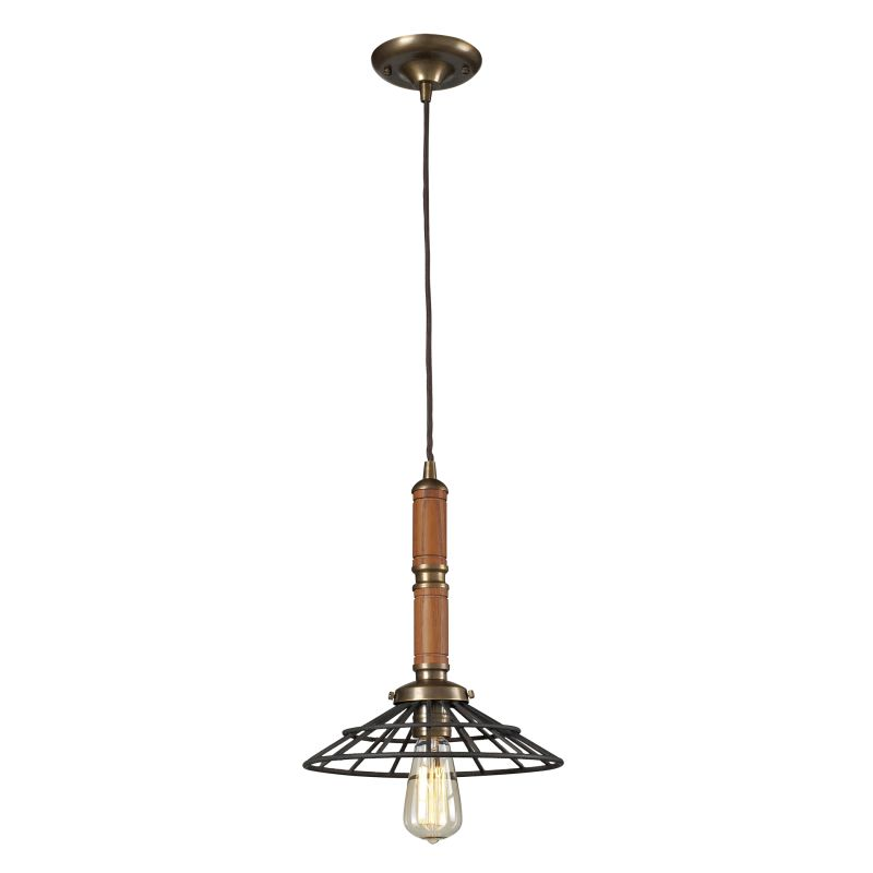 Elk Lighting 65138-1 Spun Wood 1 Light Pendant Vintage Brass / Vintage