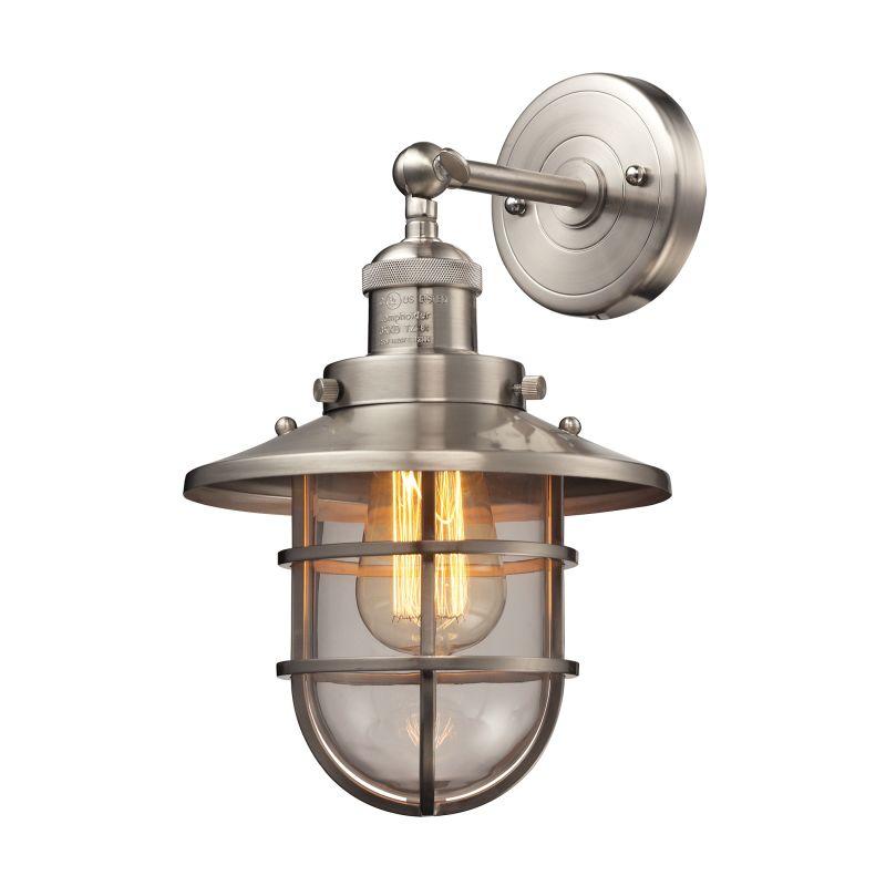 Elk Lighting 66356/1 Seaport 1 Light Wall Sconce Satin Nickel Indoor Sale $210.00 ITEM: bci2615226 ID#:66356/1 UPC: 748119089065 :