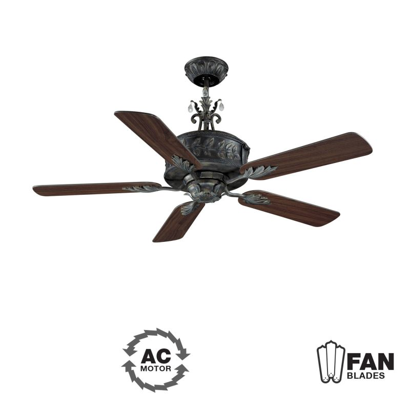 "Ellington Fans ANT54AV5WCR Traditional 54"" 5 Blade Indoor Ceiling Fan"