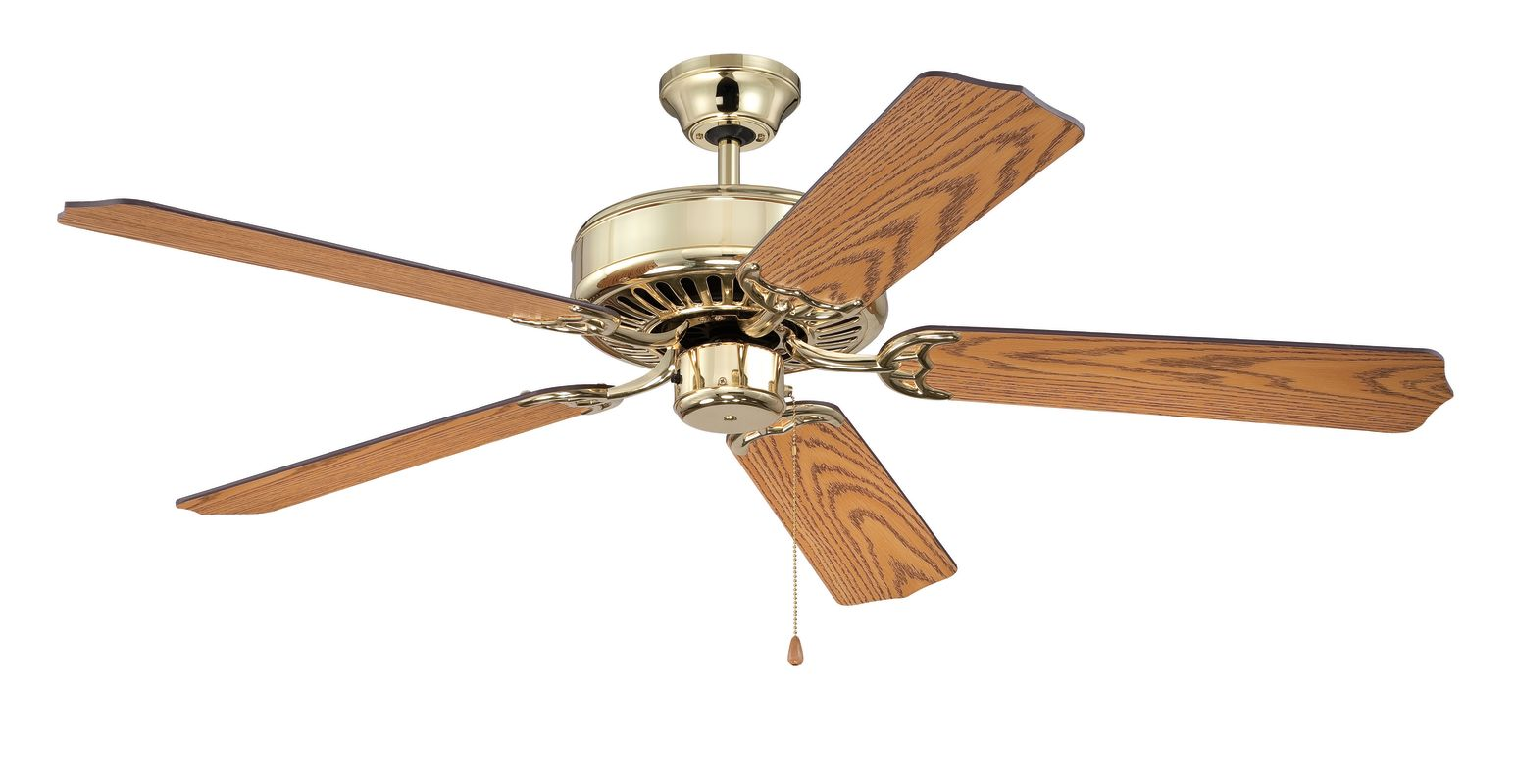 "Ellington Fans E52 Pro 52"" 5 Blade Indoor Ceiling Fan Bright Brass /"