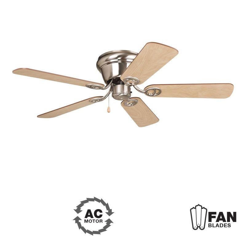 """Ellington Fans Wyman 42"""" 5 Blade Indoor Hugger Ceiling Fan Brushed"""