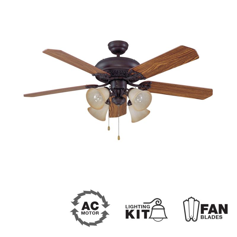 "Ellington Fans Manor-L Classic 52"" 5 Blade Indoor Ceiling Fan - Blades"