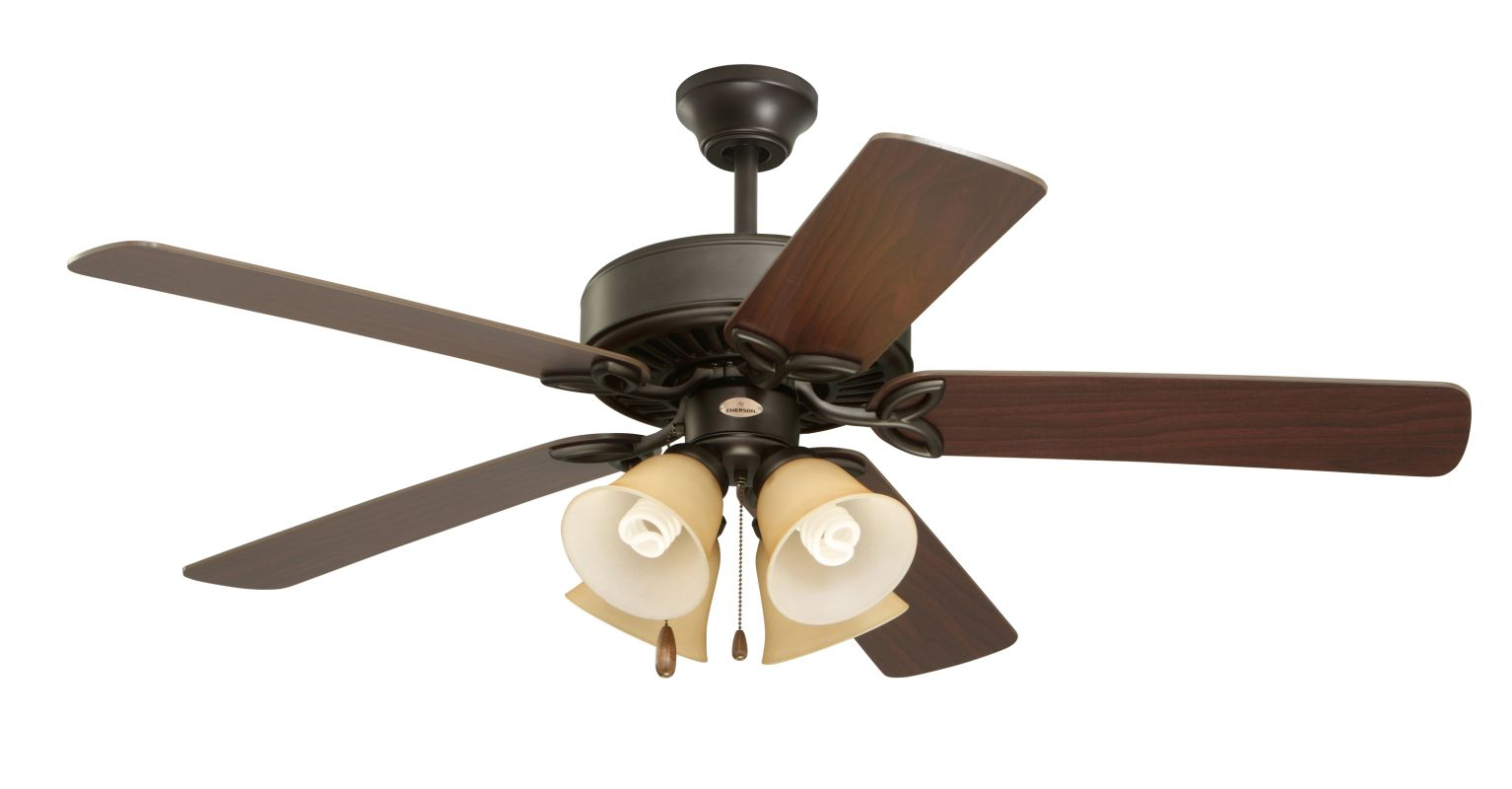 "Emerson CF711 Builder Plus 50"" 5 Blade Ceiling Fan - Blades and Light"