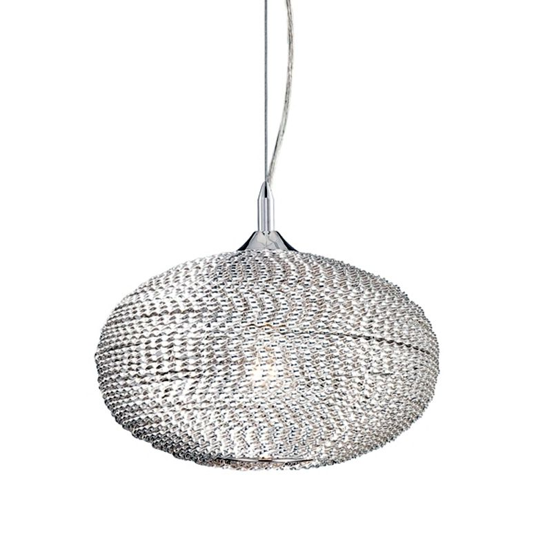 Eurofase Lighting 22919 Otra 1 Light Pendant with Woven Silver Shade