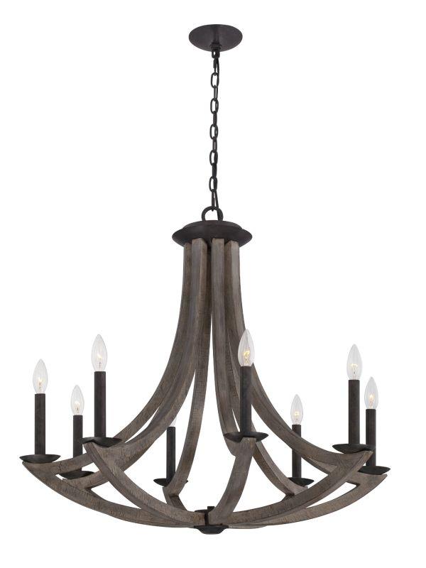 Eurofase Lighting 25588 Arcata 8 Light Single Tier Wooden Chandelier