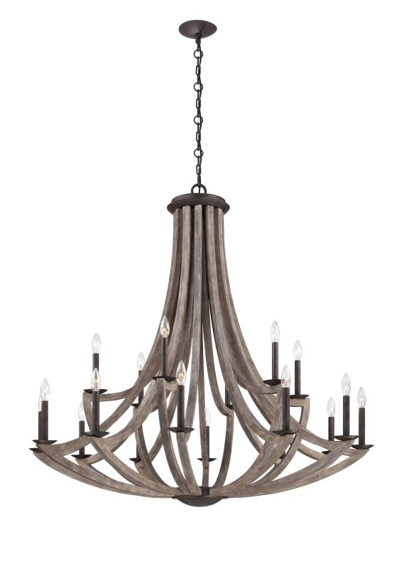 Eurofase Lighting 25589 Arcata 18 Light Two Tier Wooden Chandelier