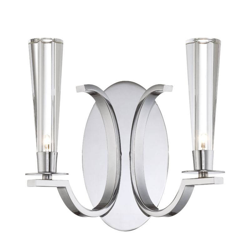 Eurofase Lighting 25632 Cromo 2 Light Wall Sconce with Glass Cone
