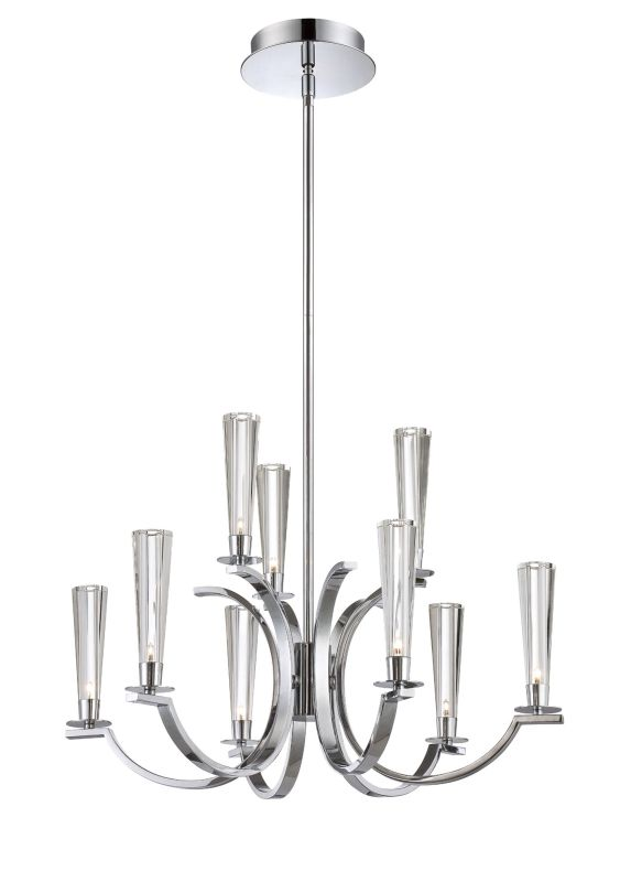 Eurofase Lighting 25634 Cromo 9 Light Two Tier Chandelier with Glass