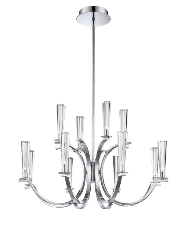 Eurofase Lighting 25635 Cromo 12 Light Two Tier Chandelier with Glass