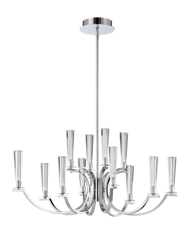Eurofase Lighting 25636 Cromo 12 Light Two Tier Chandelier with Glass