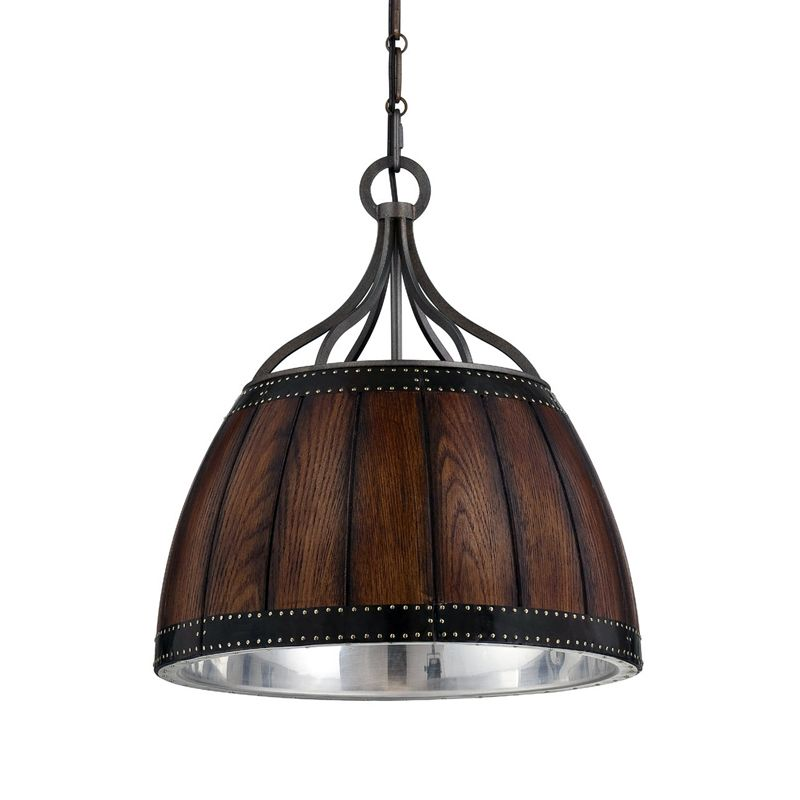Eurofase Lighting 25637 Mano 1 Light Pendant with Wooden Dome Shade