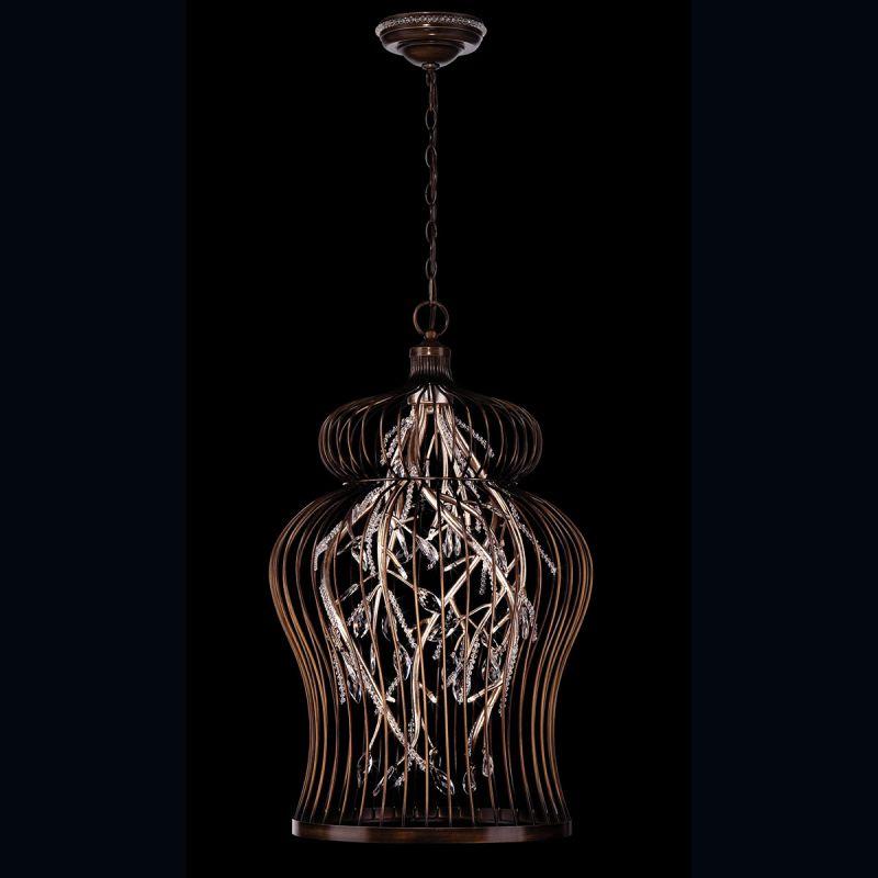 Eurofase Lighting 26369-013 Oil Rubbed Bronze / Silver Leaf Fanta 14 Light Caged Chandelier with ...