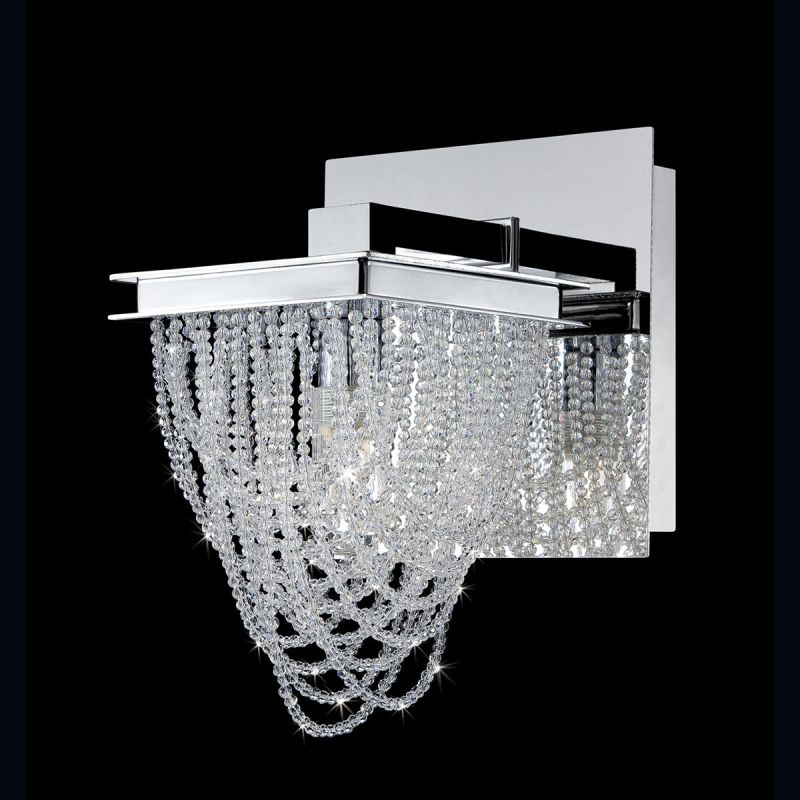 Eurofase Lighting 26590 Rio 1 Light Crystal Wall Sconce Chrome Indoor