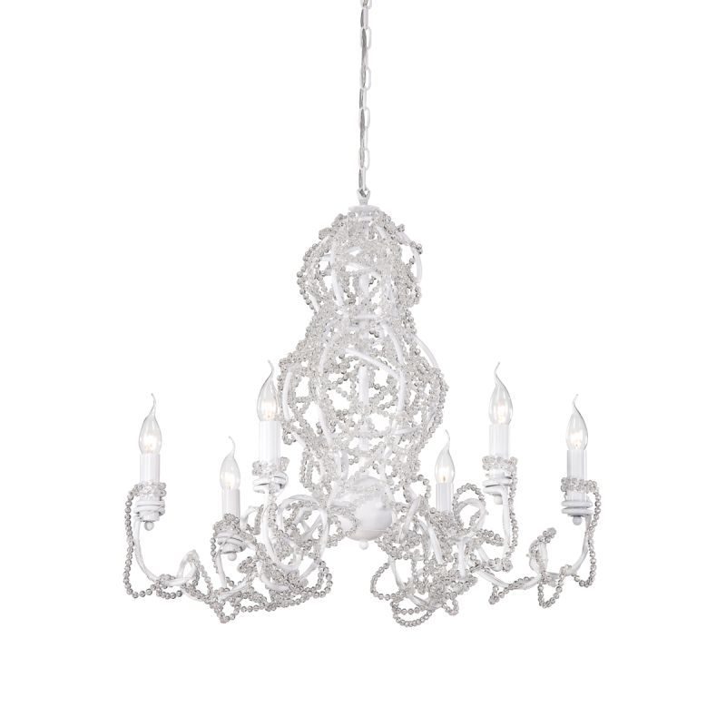 Eurofase Lighting 22931 Fantasia 6 Light Chandelier White / Clear