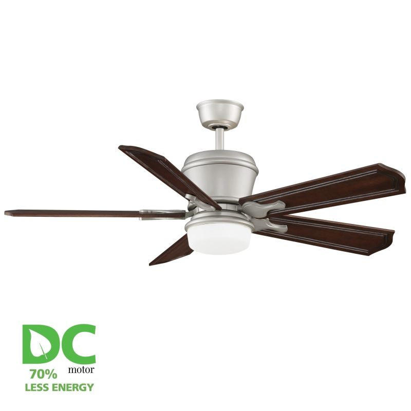 """Ceiling Fans With Up And Down Lights: Fanimation Satin Nickel Sandella 52"""" 5 Blade DC Ceiling"""