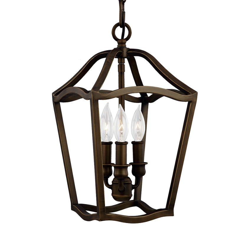 Feiss F2974/3 Yarmouth 3 Light 1 Tier Chandelier Painted Aged Brass